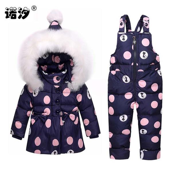Schneeanzug Und Großhandel Neugeborene Sets Weiße Daunenjacke Kapuze Warme Kleidung Baby Ente Hosen Wasserdichte Mädchen Kinder c3A5R4jLq