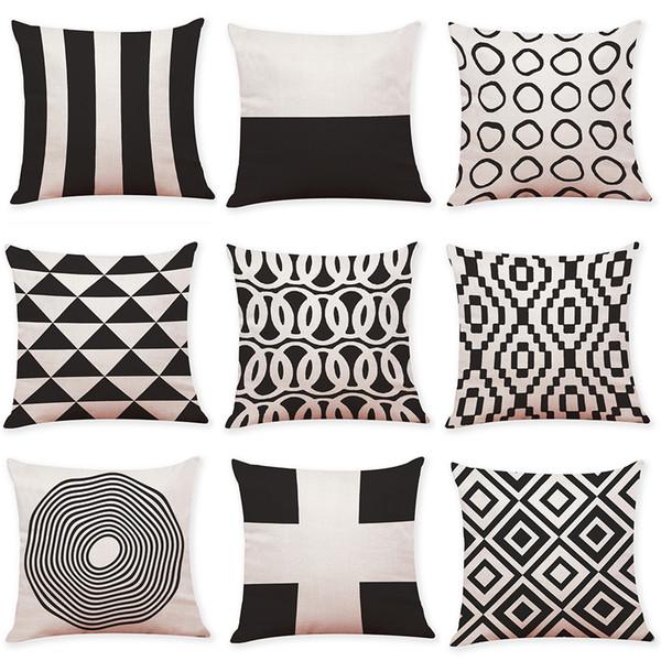 Funda de cojín geométrica de lino en blanco y negro Sofá de oficina en casa Funda de almohada Cojín decorativo Fundas de almohada 2018 Nuevo (18 * 18 pulgadas)