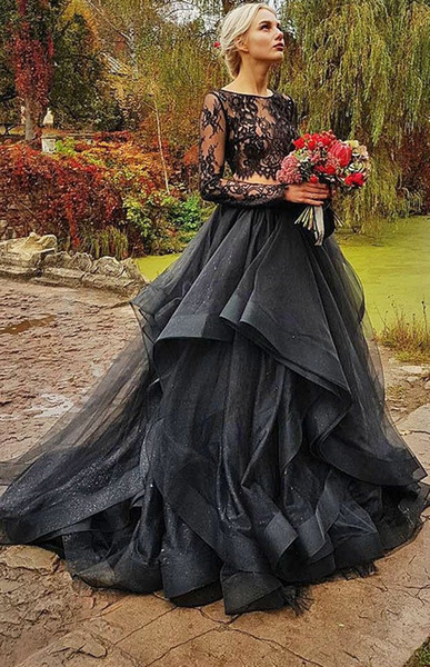 2 Pieces Gothic Black Colorful Wedding Dresses With Color Illusion Lace Top Ruffles Organza Skirt Boho Black Wedding Gowns Couture
