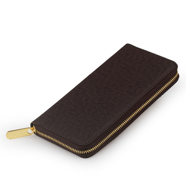 Classic men design zippy wallets genuine leather Single wallet Men clutch card holder vintage purse 60017 60015 with box