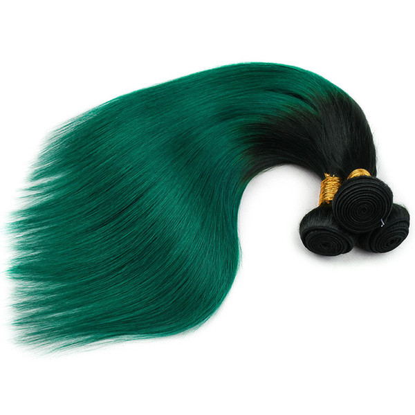 """Pre-Colored Green Ombre Peruvian Hair Bundles T1B/Turquoise Dark Roots Green Silky 3 Bundles Straight Human Hair Weave 10""""- 26"""""""