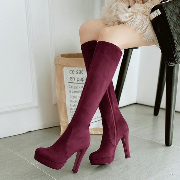 Preto Cinza Mulheres Rebanho Quadrado Botas De Salto Alto Na Altura Do Joelho Botas de Plataforma de Moda Com Zíper Outono Inverno Mulher Sapatos Vinho Tinto Vermelho