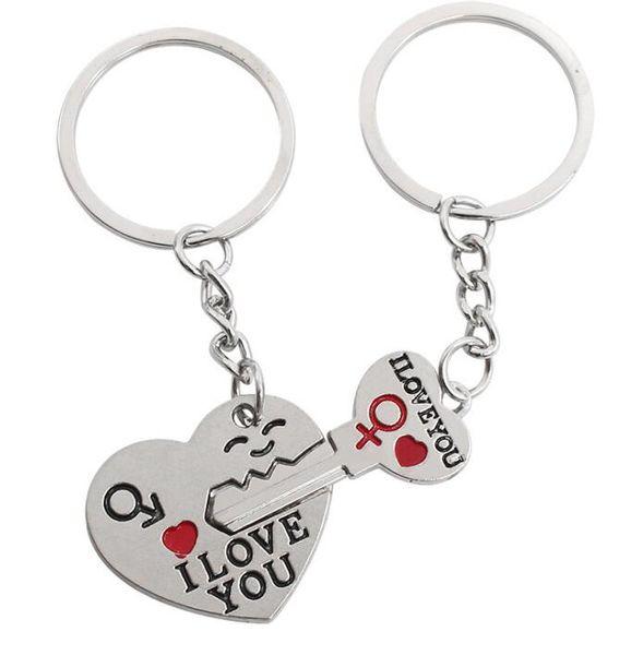 Vintage Silver I LOVE YOU Heart Couple Men Women Symbol Keychain For Keys Car Bag Key Ring Handbag Gift Jewelry Key Chains Accessories NEW