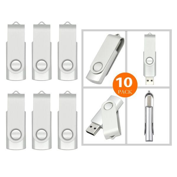 Silver Bulk 10PCS Metal Rotating USB 2.0 Flash Drive Pen Drive Thumb Memory Stick 64M 128M 256M 512M 1G 2G 4G 8G 16G 32G for PC Laptop Mac