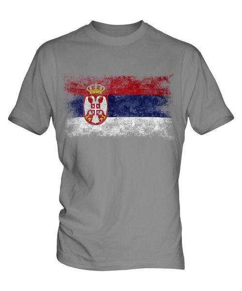 SERBIA DISTRESSED FLAG MENS T-SHIRT TOP SRBIJA SERBIAN ?????? SHIRT-FUSSBALL