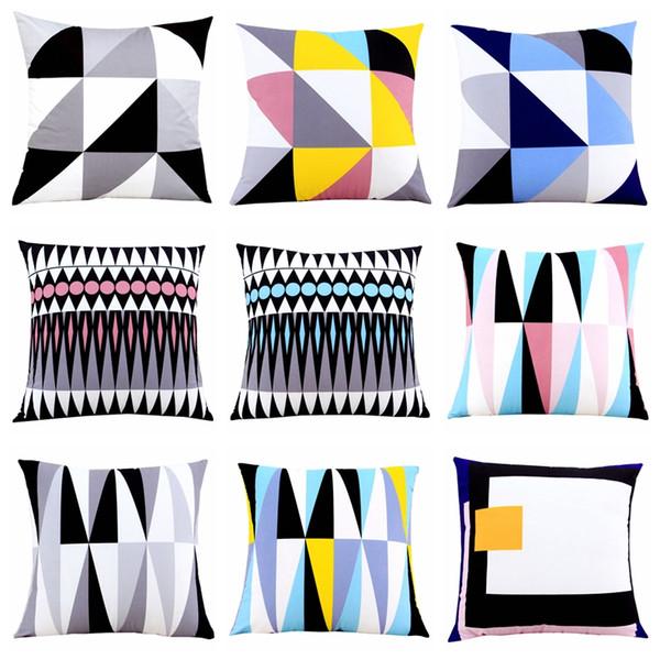 Candy color Geometric Cushion Cover Home Decor Velvet Pillow Cover For Sofa 45*45cm Decorative Pillows Sham Car Cushions