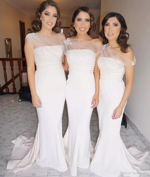 One Shoulder Mermaid Appliques Sweep Train White Sheer Romantic Beautiful Wedding Dress Custom Made Bridesmaid Dress