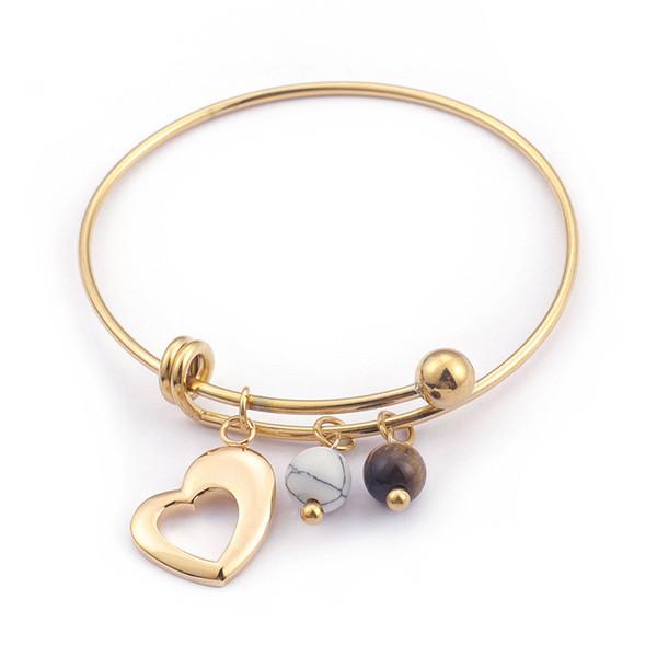 Romantic Stainless Steel Gold/Silver Heart Bangles Women Ethnic Beads Charm Bracelet & Bangle Wedding Jewelry
