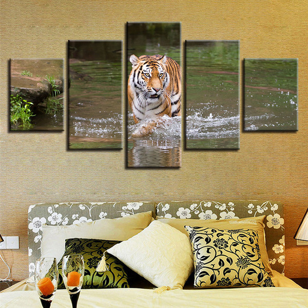 Wall Art 5 Pieces Animal Tiger In The River Scenery Canvas Paintings Modular Posters Home Living Room Decor HD Printed Pictures