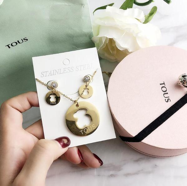 Nueva moda pendientes salvajes collar de clavícula cadena rhinestone cartas oso regalo para mujer joyas accesorios
