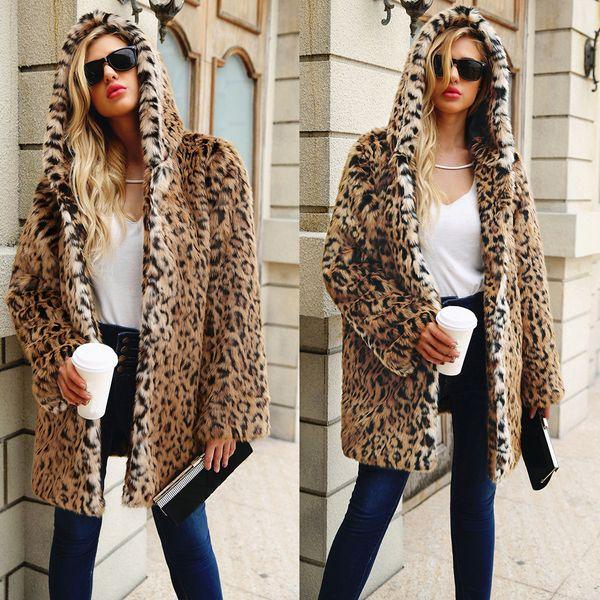 Winter Women Leopard Print Faux Fur Jacket Coat Overcoat 2018 Ladies Thick Warm Hooded Long Coats Female Fur Jacket Outwear
