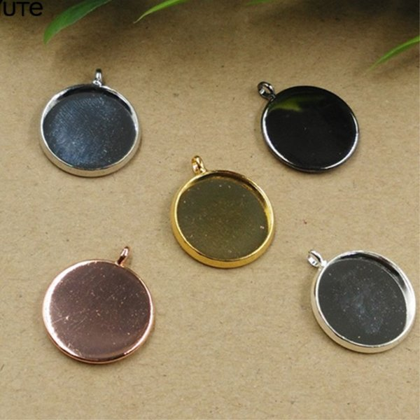 BoYuTe 50Pcs Silver Plated Pendant Blank Tray 10MM 12MM 14MM 16MM 18MM 20MM 25MM Cameo Cabochon Base Setting for Jewelry Making