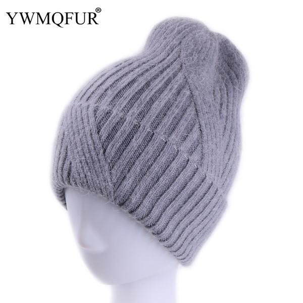 YWMQFUR New Style Women Winter Hats Thick Warm Skullies Lady Hat Solid Vintage Rabbit Fur Velvet Female Leisure Beanies Caps