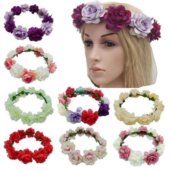 Sıcak satış Bohemia Düğün Gelin Çiçek Taç çocuk baş süsleri Çelenkler İşi yapay Çiçekler Saç hoop