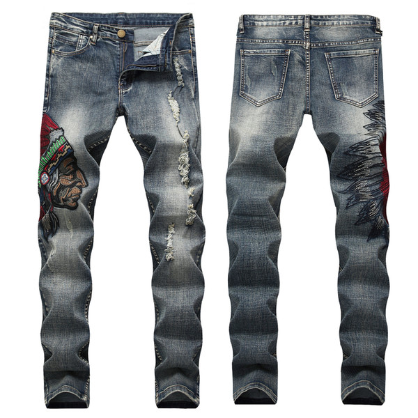 Men's Slim Fit Stretch Pants Ripped Black Jeans with American Indian Embroidery Mens Designer Jeans