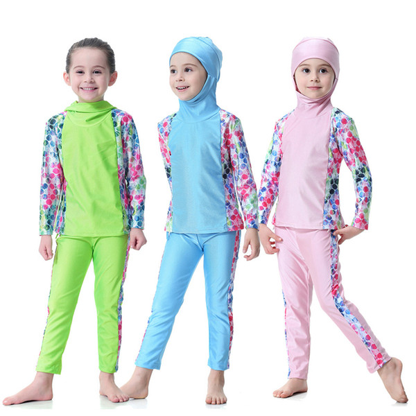 2018 Top Quality Modest Covered Swimwear For Young Girls Long Sleeve Islamic Swimsuit For Muslim hijabs Islam Beach Wear Hijab 2pcs Set