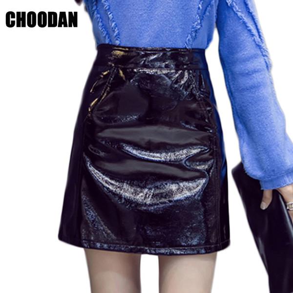 a-line mini skirt women high waist skort short korean fashion spring autumn2018 black skirts schoolgirl pu skirt female clothing
