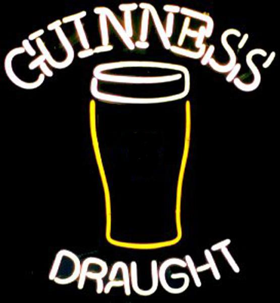 "Guinness Draught Glass Bottle Neon Sign Custom Handmade Real Glass Tube Store Beer Bar KTV Club Hotel Advertising Display Neon Signs 14""X17"""
