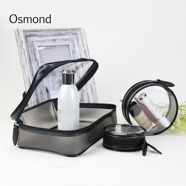 Transparent Makeup Organizers Women Cosmetic Bag Clear PVC Makeup Cases Circular Storage Organizer Square Toiletry Bag Pouch