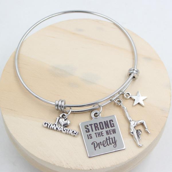 Nuovo modo di arrivo Braccialetto in acciaio inossidabile regolabile Bangle espandibile Fitness GYM Ginnastica braccialetto gioielli regali braccialetto