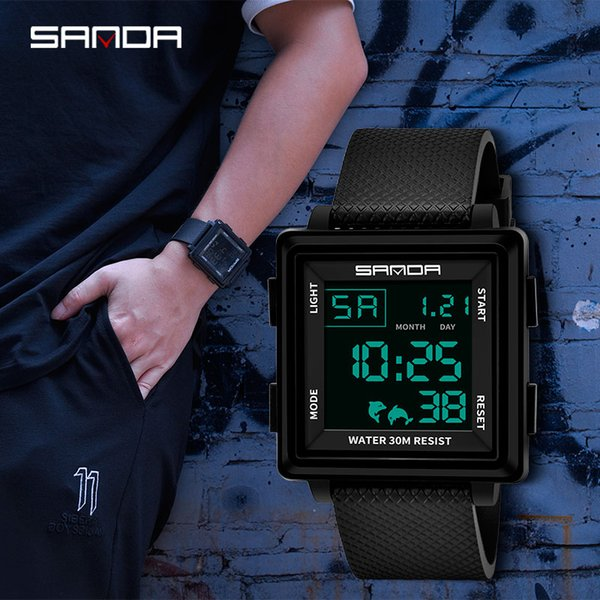 SANDA Men Waterproof LED Digital Watches Top  Fashion Square  Sport Shockproof Watch Chronograph