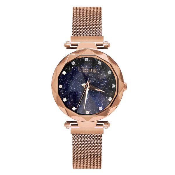 Ulzzang Brand Women Watches Rose Gold Rhinestone Lady Quartz Wristwatch Fashion Mesh Belt Steel Lady Clock Drop Shipping Watch