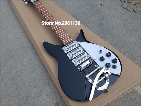 top popular John Lennon Short Scale Length 527mm 6 String Black Electric Guitar Bigs Tremolo, Brown Lacquer Paint Fingerboard & Dot Inlay 2021