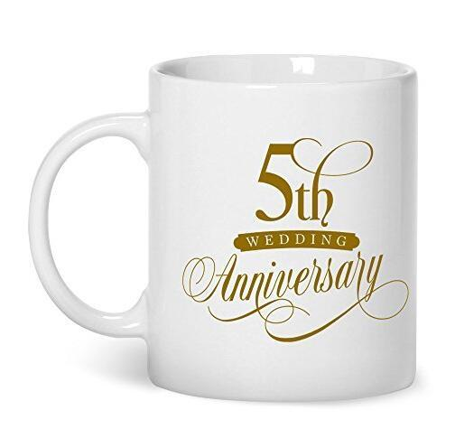 5th Wedding Anniversary Gifts,5th Wedding Anniversary Gifts For Her 11-oz Coffee Mug Cup Made of White Ceramic is Perfect Gift Idea for your