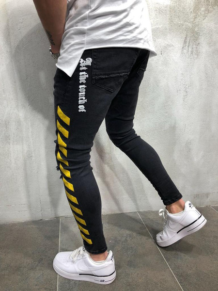 0bbaa0b77 Mens Striped Black Jeans Biker Jean Ripped Fashion Slim Fit Clothing Pencil  Pants Pantalones for Hommes