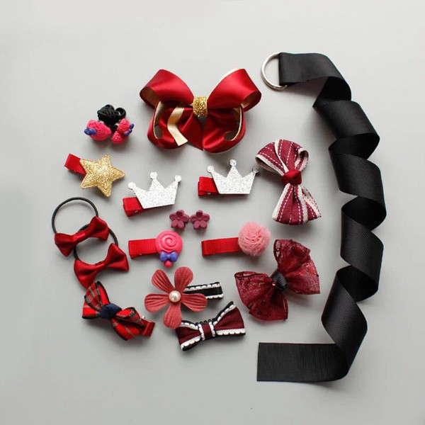 18Pcs/Lot Girls Hair Accessories Kids Headwear Bow Baby Hair Clips Geometric Rope For Girls Party Birthday Wear Gift Box