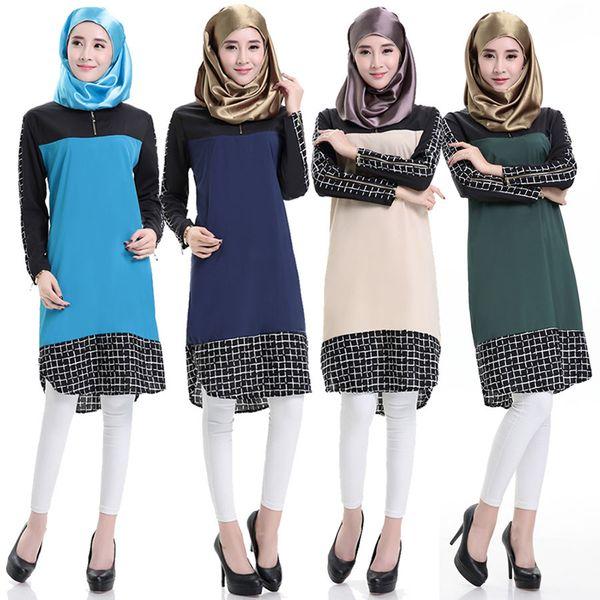 Mulheres Vestido Muçulmano Emendado Curto Abaya Muçulmano Camisas Xadrez Costura Blusa De Manga Comprida Malásia Turquia Dubai Oriente Médio Saudita Saia