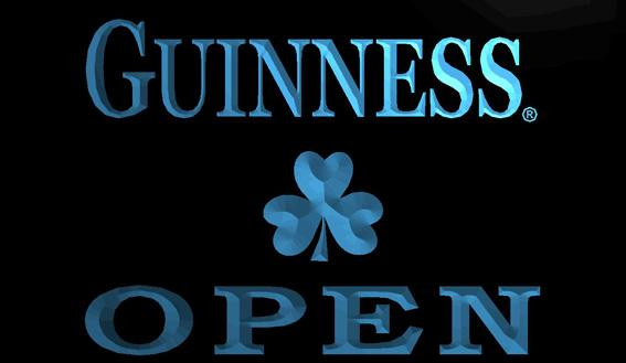 LS1208-B-Guinness-Shamrock-OPEN-Neon-Light-Sign Decor Free Shipping Dropshipping Wholesale 8 colors to choose