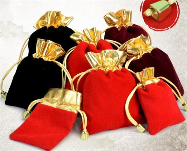 best selling 4 sizes Velvet Beaded Drawstring Pouches Jewelry Packaging Christmas Wedding Gift Bags R183