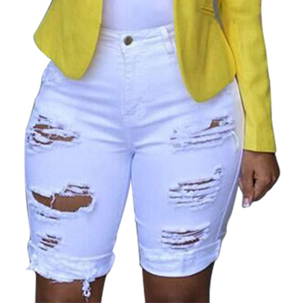 Womens Casual sólido Denim Skinny Jeans Buraco Feminino Leggings Destruído Bermuda Shorts Jeans Calças Mulheres Com Cintura Alta Verão