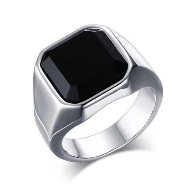 ZHF Jewelry Classic Design Big Black Stone Ring For Men Stainless Steel Man's Ring Cool Male Punk Jewelry Dropshipping