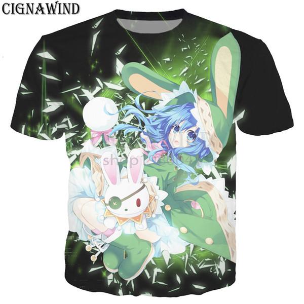 Последние Harajuku стиль аниме футболка мужчины/женщины мультфильм дата живой 3D печатных футболки повседневная хип-хоп футболка уличная топы