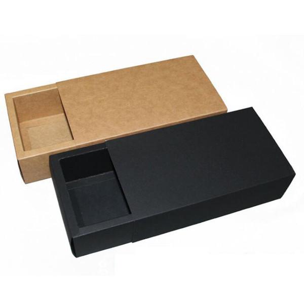 14 7 3cm black beige drawer packing box gift bow tie packaging kraft paper carft cardboard boxe za6404