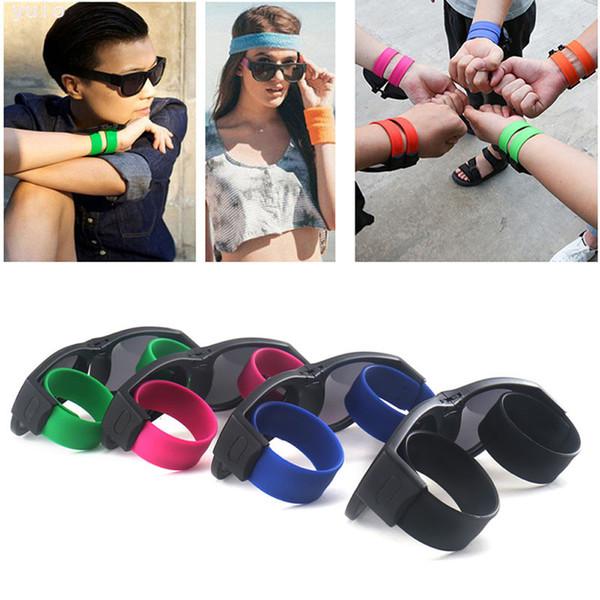 Slap Sunglasses Women Slappable Bracelet Sun Glasses for Men Wristband Fold Shades Oculos Colorful Fashion Mirror UV400