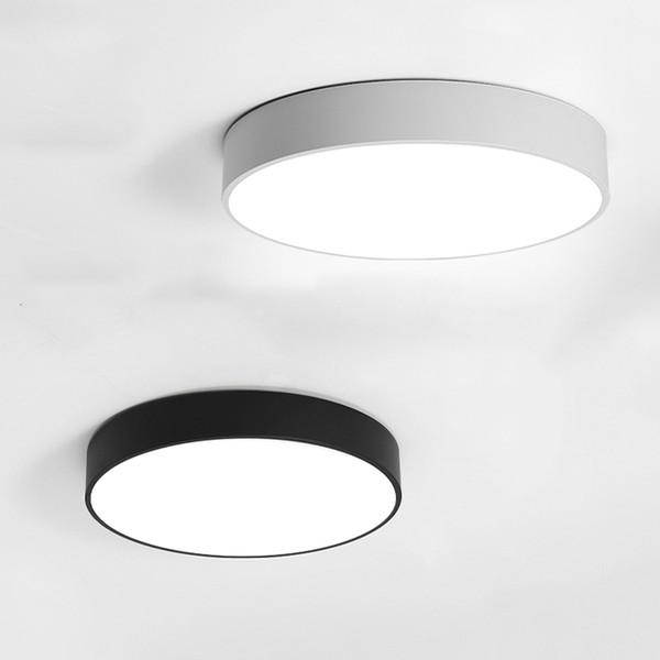 Современный светодиодный потолочный светильник 18 Вт 24 Вт круглый простой Европа фойе / столовая / кабинет Декоративные лампы черный / белый потолочный светильник