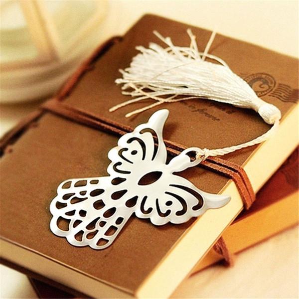2 stücke Nette Angel Metal Bookmarkers mit Quasten Lesezeichen für Buch Kawaii Briefpapier Papeleria Buch Marker Geschenke für Lehrer Kinder