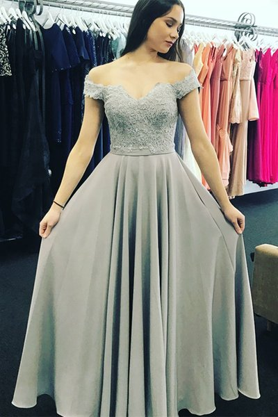 Classy Grey A Line Off The Shoulder Prom Dresses 2018 Lace Floral Low V Backless Evening Gown Sexy Beautiful Hot Long Formal Gown