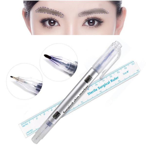 2 Teile / satz Wasserdicht Microblading Tattoo Augenbrauen Haut Marker Pen Mit Maß Messlineal Lip Liner Body Art Makeup Tools