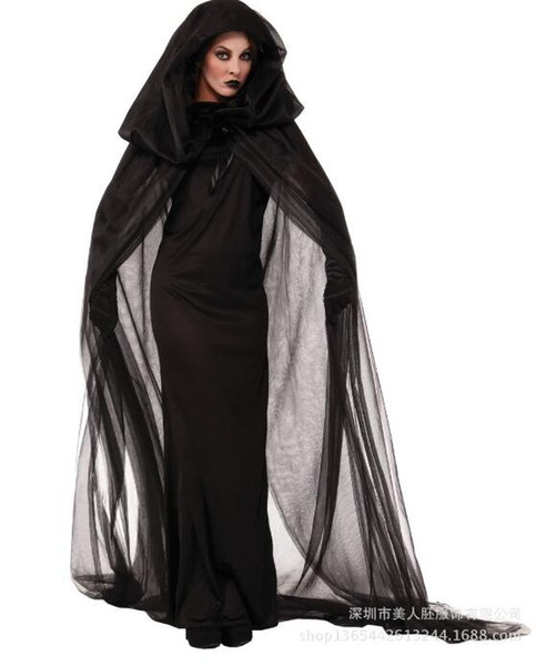 Halloween Ghost Bride Witch Vampire Queen Cool Black Dress And Cloak Uniform Cosplay Costume For Masquerade Party