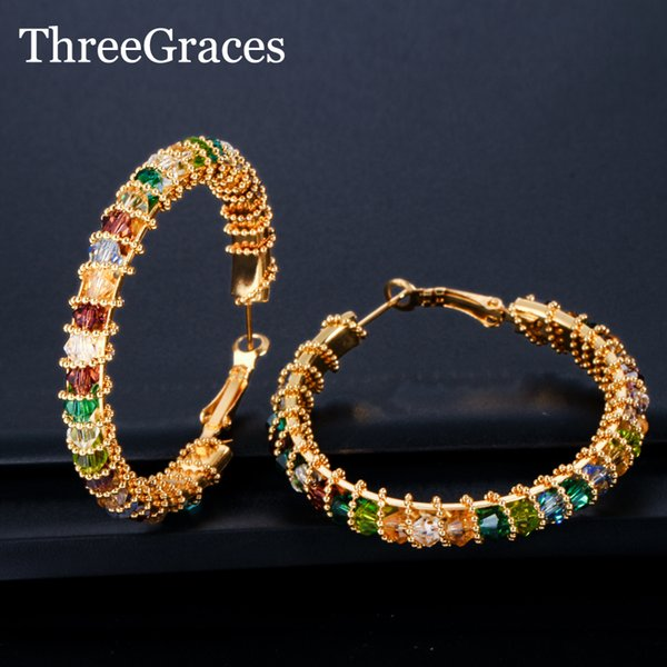 ThreeGraces Large Yellow Gold Circle Hoop Earrings Colorful CZ Crystal Cluster Loop Earring for Women Wedding Jewelry ER423