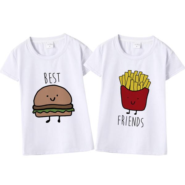 87734419ae46 Funny Design Best Friend Matching T-Shirt BFF T Shirt Women Fast Tee Shirt  for Femme Cotton Tops Tees Hamburger and Fries
