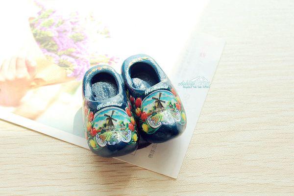 """2x2"""" Netherlands Holland Wooden Shoes Tourist Travel Souvenir 3D Fridge Magnet Handicraft BLUE"""