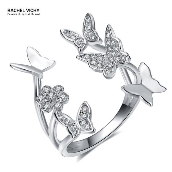 Grosshandel Neue Reizende Damen Schmetterling Ring Silber Rose Gold