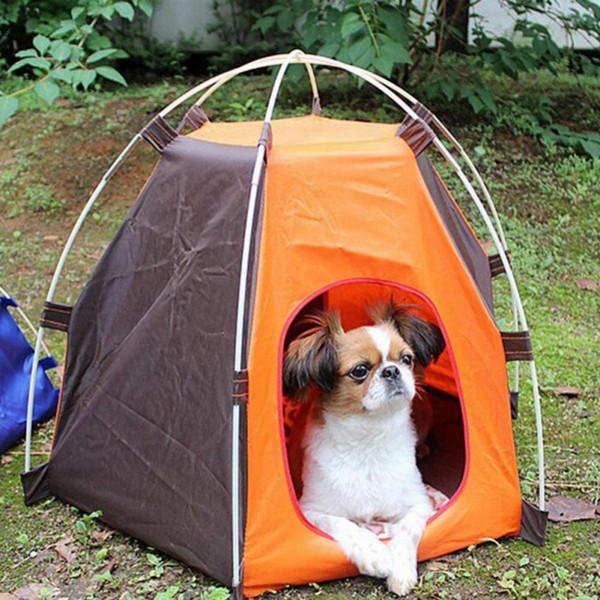 Portátil plegable Camping Pet Dog Cat Tent House Refugio a prueba de lluvia Protector solar Lavable Interior al aire libre Camping Puppy Pet Tent Bed