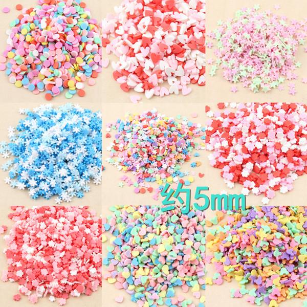 Mix 100 gram 5 MM Yıldız kalp Yumuşak seramik polimer kil takılar simülasyon dekoratif mini şeker boncuk kar tanesi yuvarlak DIY takı aksesuarları