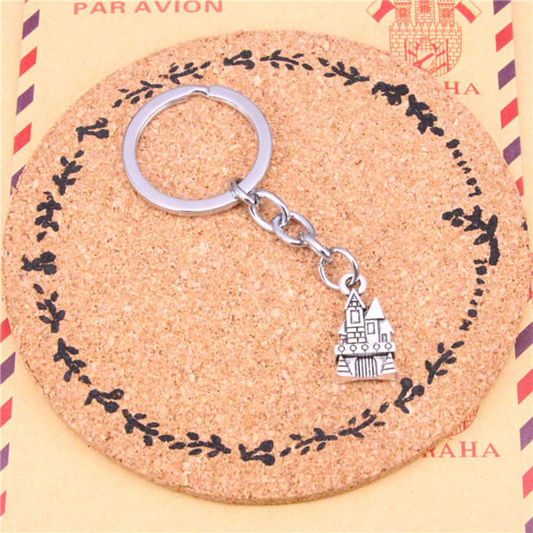 Keychain castle house Pendants DIY Men Jewelry Car Key Chain Ring Holder Souvenir For Gift